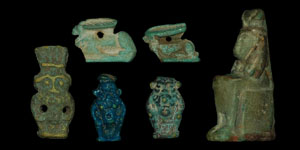 Egypt - Seated Figurine and Five Amulets