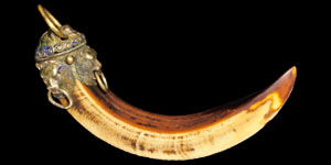 Indian Silver-Mounted Boars Tusk
