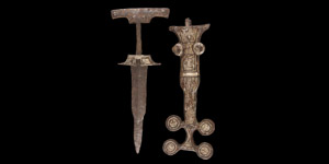 Iron Age Celtic Inlaid Dagger and Scabbard
