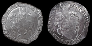 Charles I - Tower Halfcrowns (2) - Group III - mm Triangle-in-Circle and (P)