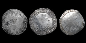 Charles I - Tower Halfcrowns (3) - mm Star, (R), Sun