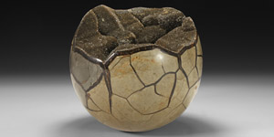 Natural History - Large Polished Alien Septarian Egg with Exposed Crystalline Interior
