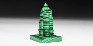 Natural History - Carved Malachite Tower Statuette