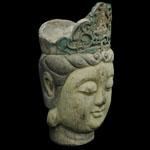 Tibet - Painted Wood Head of Buddha