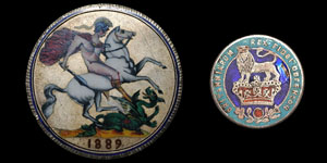 Enamelled Coins - 1825 Shilling and 1889 Crown