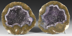 Natural History - Cut and Polished Amethyst Geode Pair