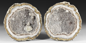 Natural History - Cut and Polished Grey Quartz Geode Pair