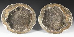 Natural History - Large Grey Quartz Geode Pair
