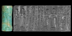 Western Asiatic Kassite Cylinder Seal with Kings Prayer for Goddess Lamassu