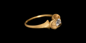 Medieval Gold Ring with Point Cut Solitaire Diamond