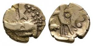 Celtic Iron Age Coins - Uninscribed Series - Hampshire Thunderbolt Gold Quarter Stater