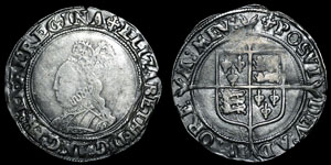 Elizabeth I - Second Issue Shilling - Cross Crosslet