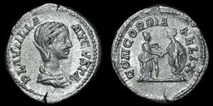 Roman Empire - Plautilla - Empress and Emperor Denarius