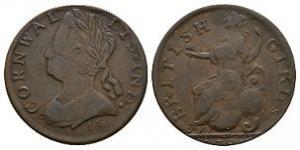 English Milled Coins - George II - 1788 - Evasion Cornwallis - British Girls Halfpenny
