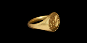 Medieval Gold Signet Ring with Crowned Shield