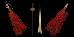 South America - Paracas Culture - Pair of Ceremonial Turban Tassels, Spindle and Bone Comb