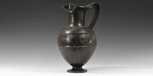 Etruscan Black-Glazed Bucchero with Warrior Frieze