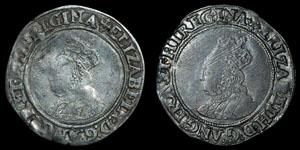Elizabeth I - Second Issue Shillings (2) - Cross Crosslet