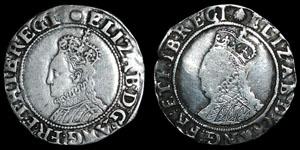 Elizabeth I - Sixth Issue Shillings (2) - Escallop, Tun