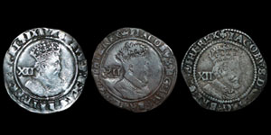 James I - Third Coinage Shillings (3) - Bell, Coronet, Lis