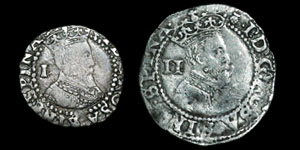 James I - First Coinage Halfgroat and Penny - Thistle, Lis