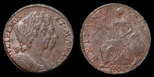 William and Mary - Copper Halfpenny - 1694