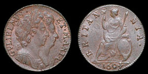William and Mary - Copper Farthing - 1694