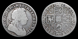 George I - South Sea Company Shilling - 1723SSC (C over SS error)