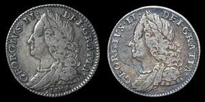 George II - Sixpences(2) - 1746, 1757