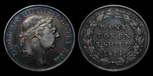 George III - Three Shilling Bank Token - 1814