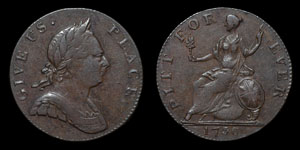 George III - Contemporary Forgery Halfpenny - 1730 (sic)
