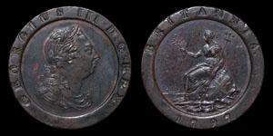 George III - Cartwheel Twopence - 1797 - Mis-Strike