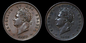 George IV - Pennies(2) - 1825, 1826