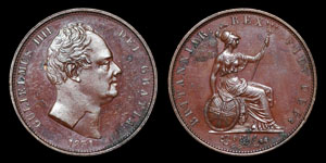 William IV - Proof Halfpenny - 1831 - Double Struck and Dies Misaligned