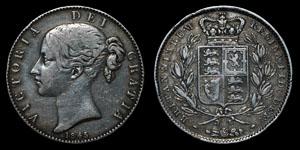 Victoria - Crown - 1845 (cinquefoil stops)