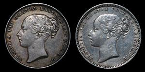 Victoria - Shillings(2) - 1846, 1875(die 64)