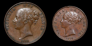Victoria - Penny and Halfpenny - 1858, 1854