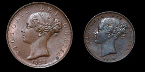 Victoria - Halfpenny and Farthing - 1853, 1858