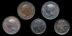 Victoria - Half Farthings(3) and Third Farthings(2) - 1843, 1844(2), 1866, 1885