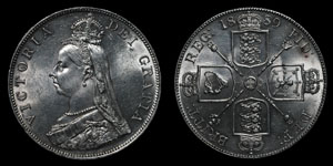 Victoria - Double Florin - 1889 - Inverted 1 in VICTORIA
