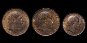 Edward VII - Pennies(2) and Halfpenny - 1902(3)