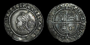 English Tudor - Elizabeth I - 1568 - Sixpence