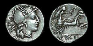 Roman Republic - L. Rutilius Flaccus - Denarius