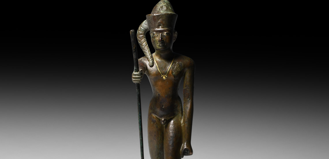 Statuette of the God Ihy with Gold Necklace and Silver Inlaid Eyes £20,000 - £30,000
