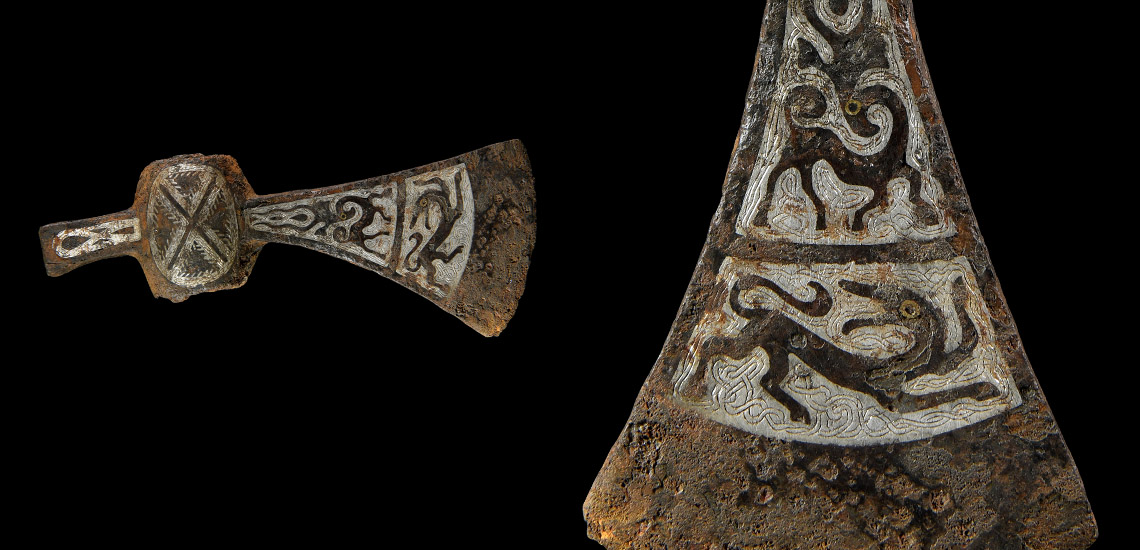 Viking Silver and Niello Inlaid Axehead with Beasts £8,000 - £10,000