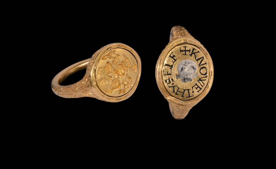 Tudor Earl of Macclesfield Gold 'Memento Mori' Heraldic Swivel Ring