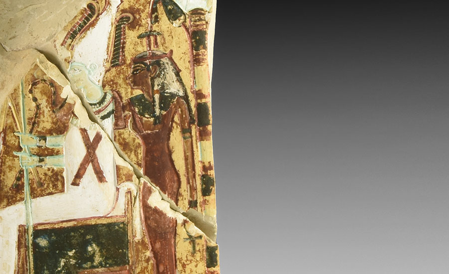 Lot 0006: Egyptian Ramesside Painted Stele Fragment £8,000 - £10,000