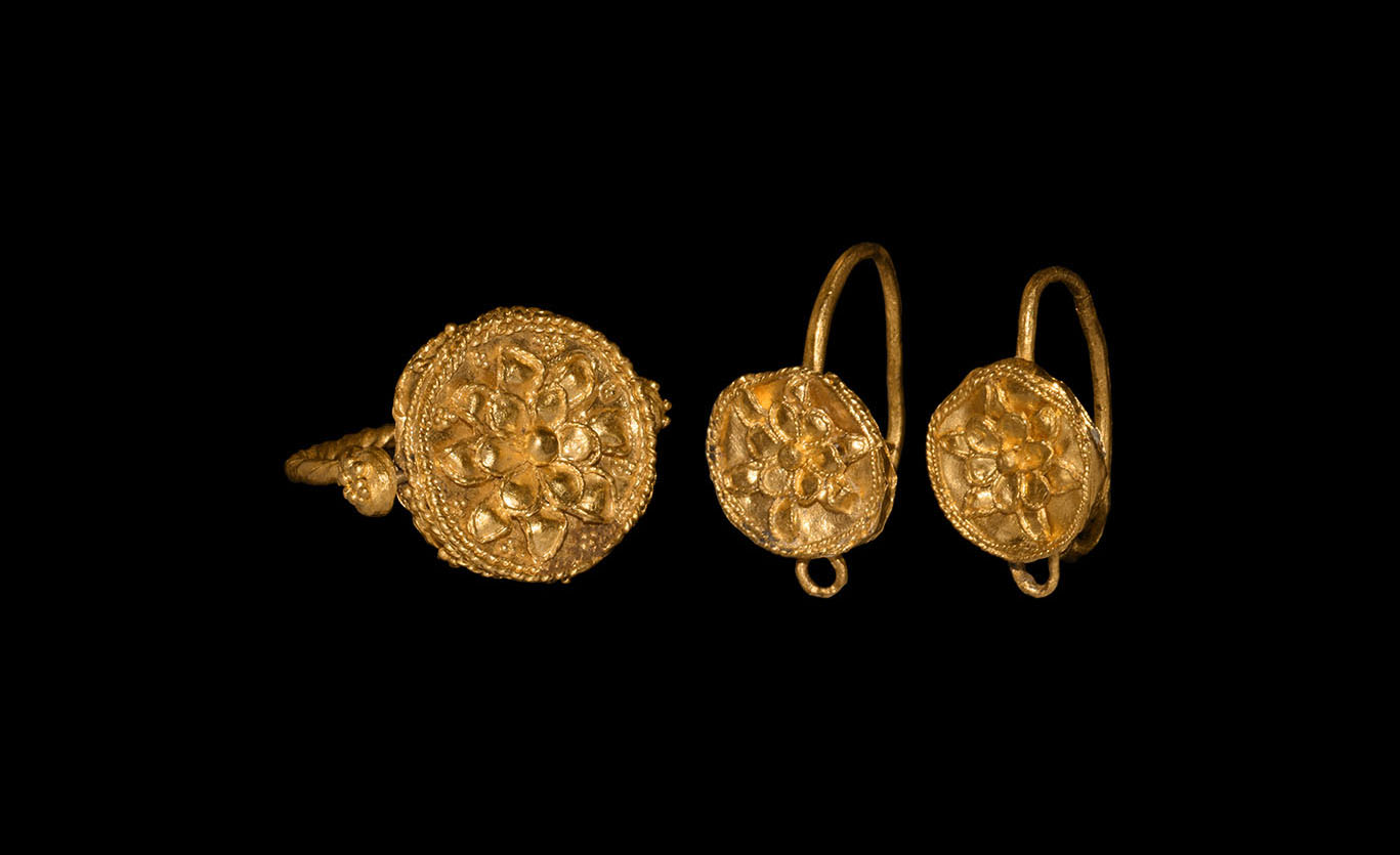 Greek Gold Ring and Earring Set with Rosettes