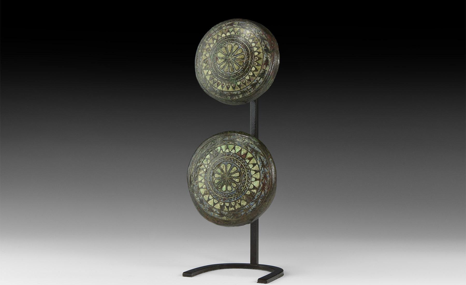 Gallo-Roman Large Celtic Enamelled Boss Pair