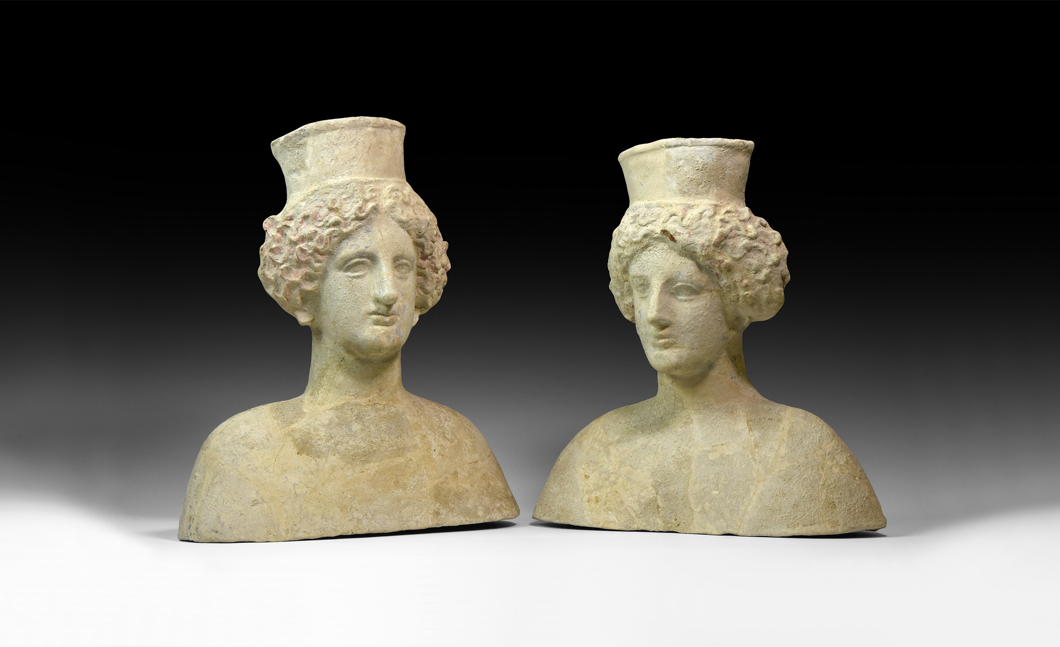 Greek Terracotta Goddess Pair